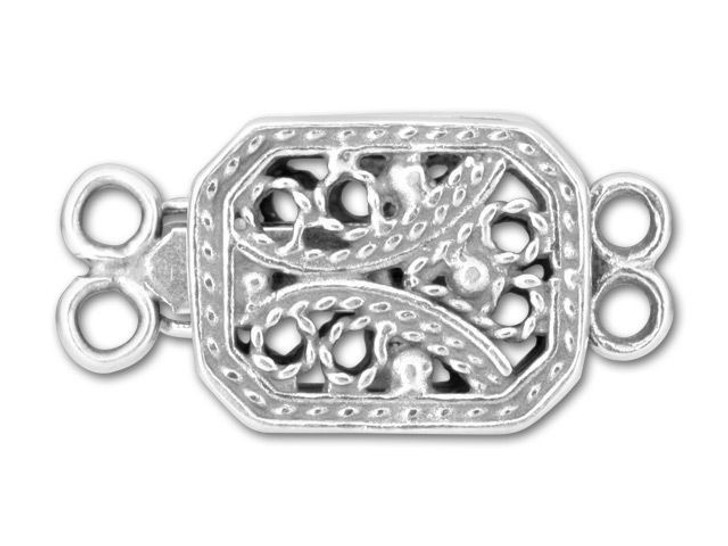 JBB Sterling Rectangular Filigree 2-Strand Pearl Clasp