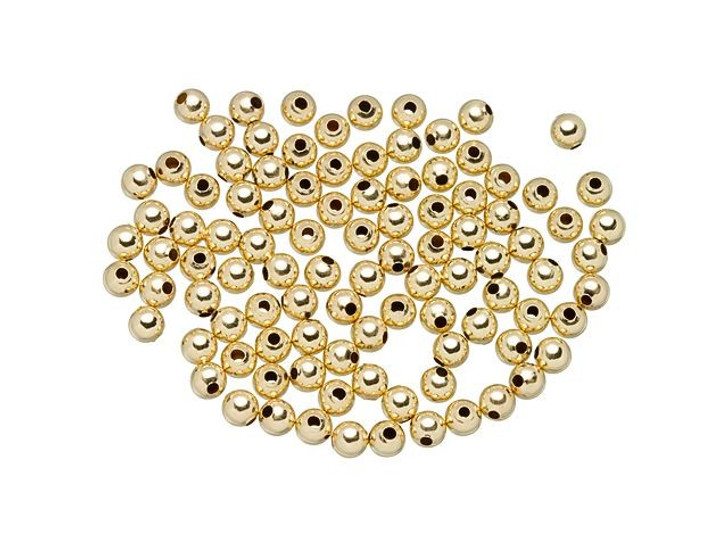 Gold-Filled 14K/20 3mm Round Seamless Bead with 1mm Hole Bulk Pack (100 Pcs)