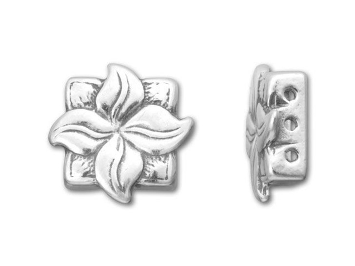 JBB Sterling Silver 3-Hole Spacer Bead with Flower