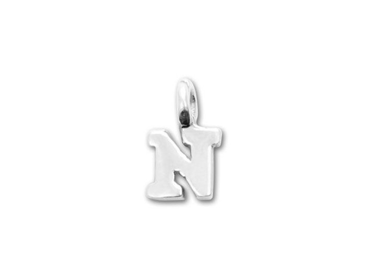 JBB Sterling Silver Alphabet Charms - N