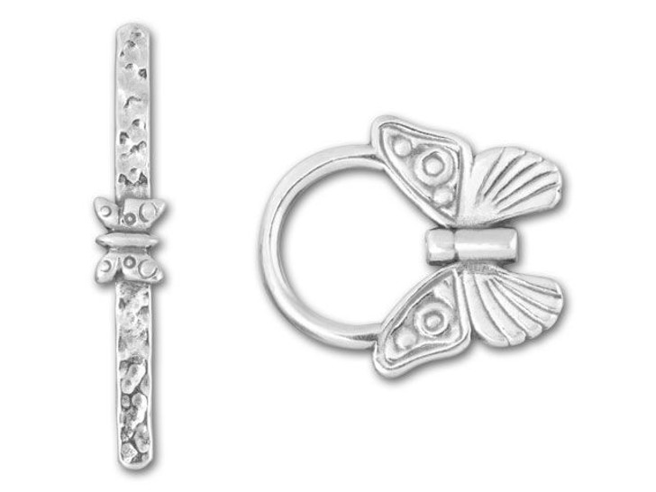 JBB Sterling Silver Center-Drilled Butterfly Toggle Clasp