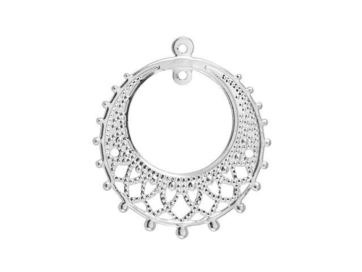 25mm Silver-Plated 2-Hole Round Lacy Chandelier
