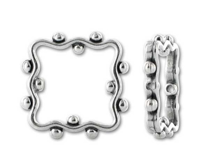 JBB Sterling Silver Granulated Square Bead Frame