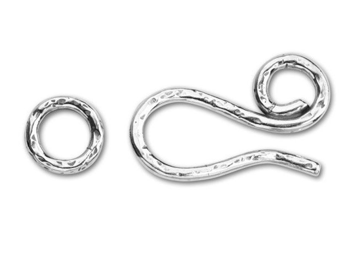 JBB Sterling Silver Hammered Spiral Hook and Eye Clasp