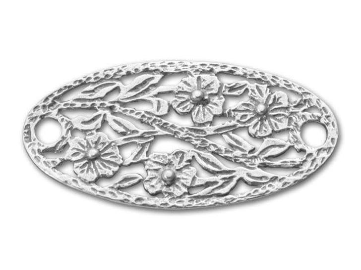 JBB Sterling Silver Oval Flower Link