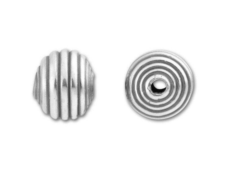 JBB Sterling Silver Round Corrugated Bead