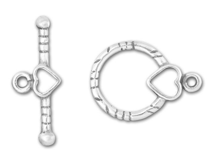 JBB Sterling Silver Round Heart Toggle Clasp