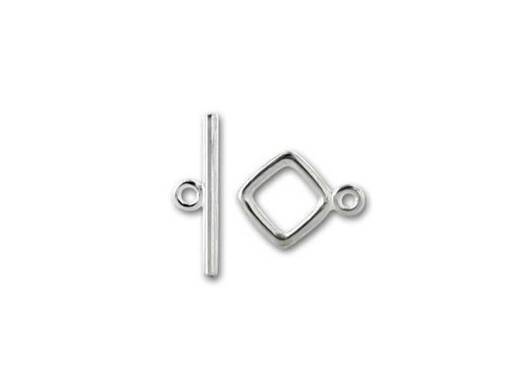 JBB Sterling Silver Small Diamond Toggle Clasp