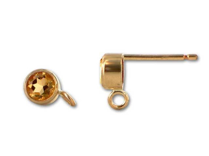 Gold-Filled 14K/20 4mm Round Citrine Earring Post (Pair)