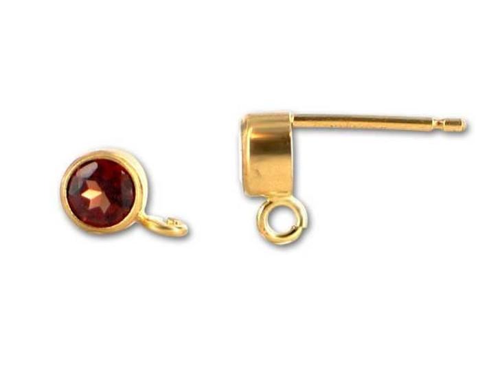 Gold-Filled 14K/20 4mm Round Garnet Earring Post (Pair)