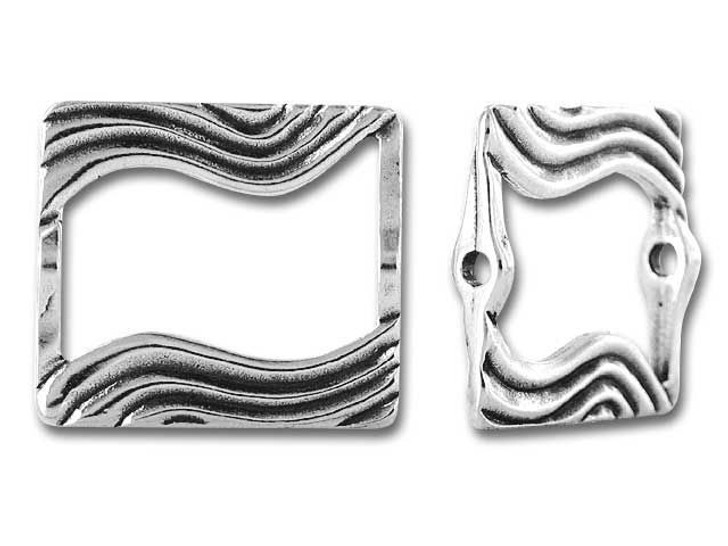 JBB Sterling Silver Wavy Rectangle Bead Frame