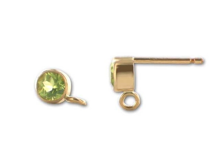 Gold-Filled 14K/20 4mm Round Peridot Earring Post (Pair)