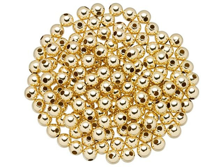 Gold-Filled 14K/20 4mm Round Seamless Bead with 1mm Hole Bulk Pack (150 Pcs)