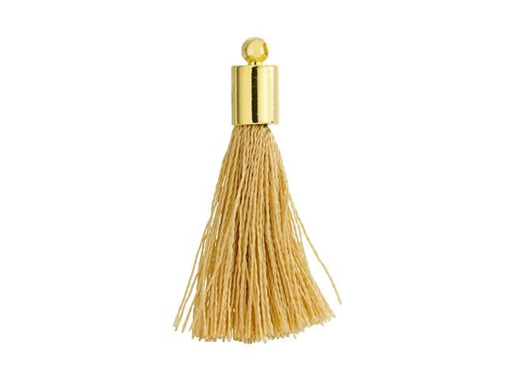 Large Beige Tassel with Gold Cap