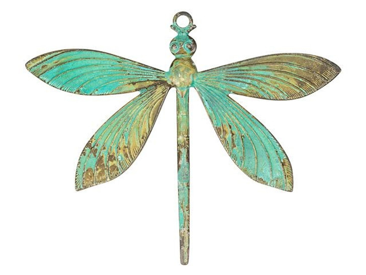 Large Brass Dragonfly Pendant with Patina