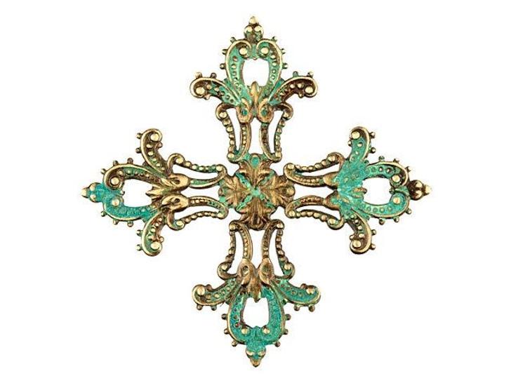 Large Brass Salvador's Cross Link with Patina
