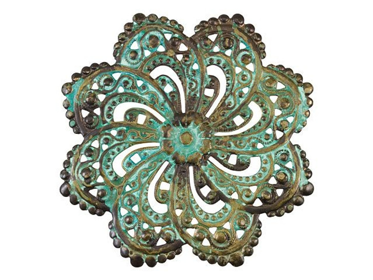 Large Brass Scalloped Filigree Spiral Embellishment with Patina