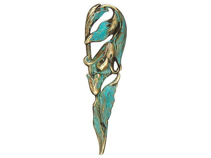 Large Brass Tall Tulip Embellishment with Patina