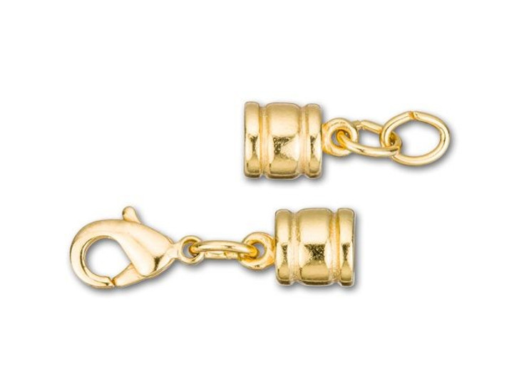 Leather Cord USA 4.4mm Gold-Plated Stainless Steel Ridged Glu-N-Go Lobster Clasp Set