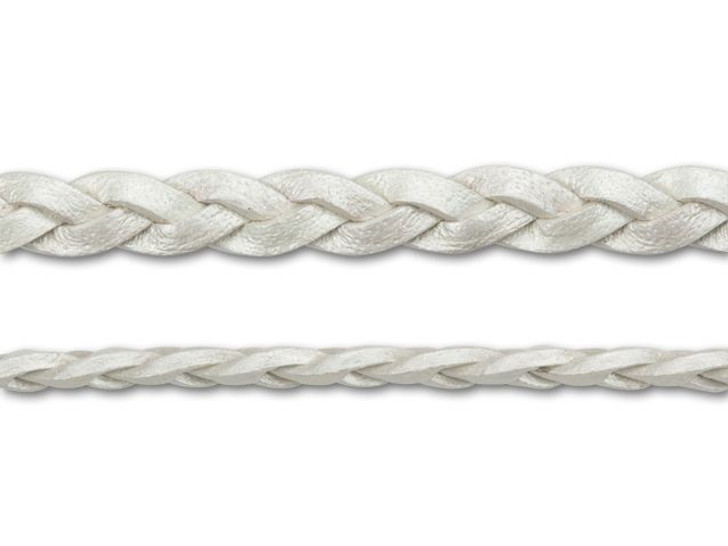 Leather Cord USA 4.5mm Metallic Pearl Flat Braided Leather - by the Foot
