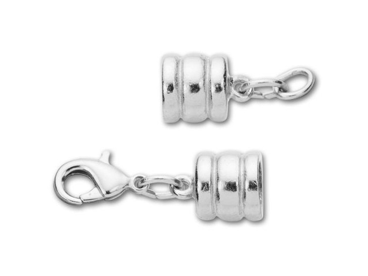 Leather Cord USA 6mm Silver-Plated Pewter Ridged Glu-N-Go Lobster Clasp Set