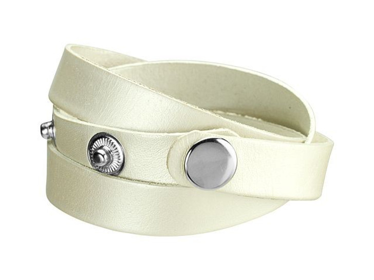 Leather Cord USA Metallic Pearl Leather Wrap Cuff with Silver Snaps