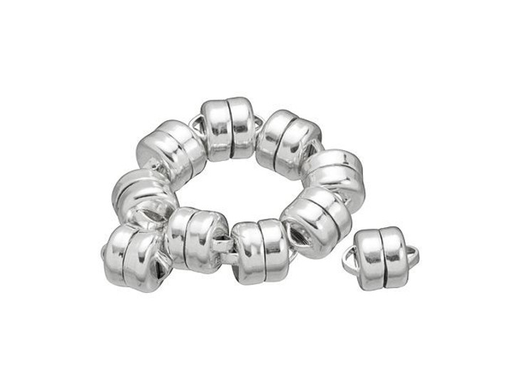 Mag-Lok Crazy Strong 6mm Sterling Silver Magnetic Clasp Bulk Pack (10 Pcs)