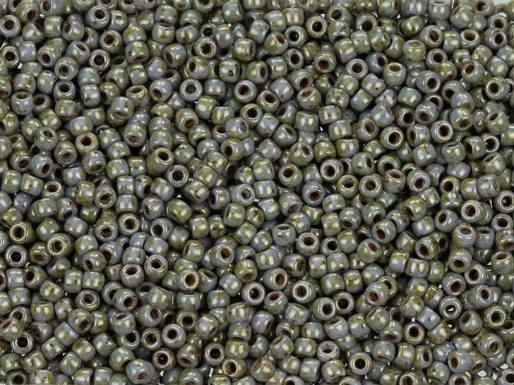 Matubo 11/0 Czech Glass Luster Marble Light Green Seed Bead 2.5-Inch Tube