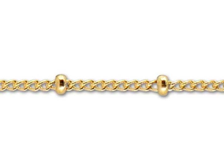 Gold-Filled 14K/20 Curb Chain with Bead (1.2mm)