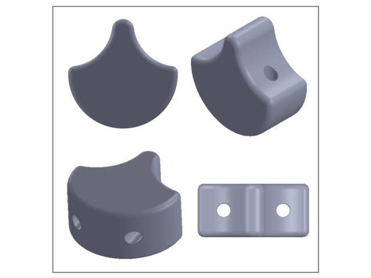 Matubo 2-Hole Matte Metallic Leather Ginkgo Leaf Bead 2.5-Inch Tube