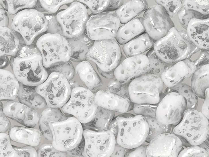 Matubo 2-Hole Silver Splash White Ginkgo Leaf Bead 2.5-Inch Tube