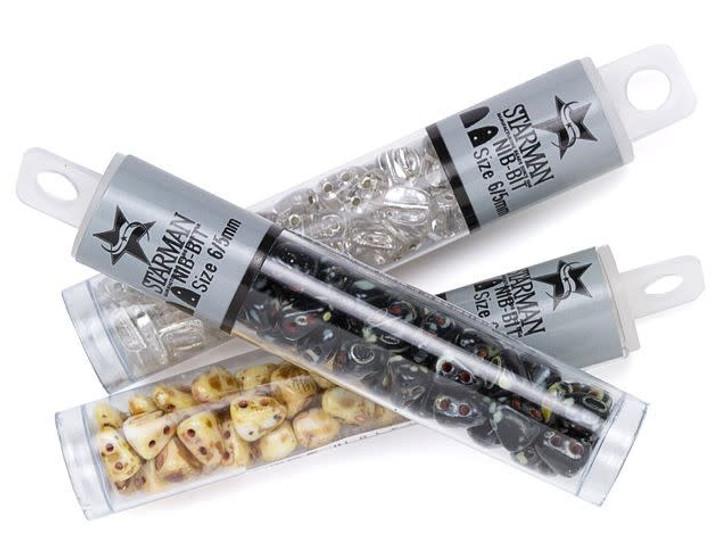 Matubo 6 x 5mm Luster Opaque Gold/Smoky Topaz NIB-BIT Bead 2.5-Inch Tube