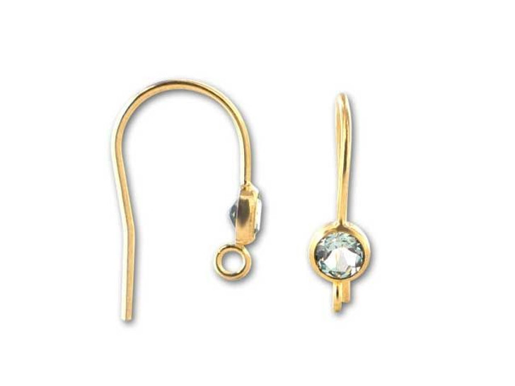 Gold-Filled 14K/20 Earwire with 4mm Faceted Swiss Blue Topaz (Pair)