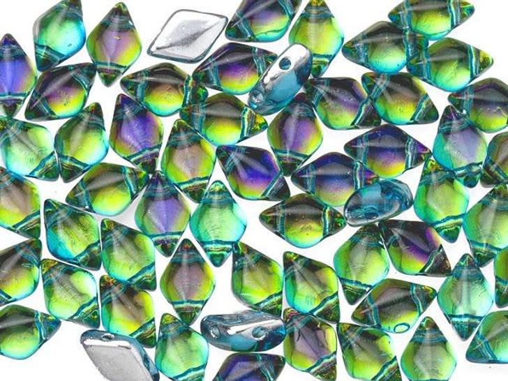 Matubo GemDuo 8 x 5mm Backlit Aquaholic Czech Glass 2-Hole Bead 2.5-Inch Tube