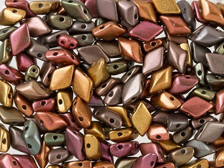 Matubo GemDuo 8 x 5mm Matte Metallic Bronze Iris Czech Glass 2-Hole Bead 2.5-Inch Tube