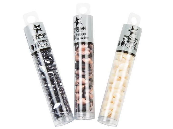 Matubo GemDuo 8 x 5mm Matte Metallic Leather Czech Glass 2-Hole Bead 2.5-Inch Tube