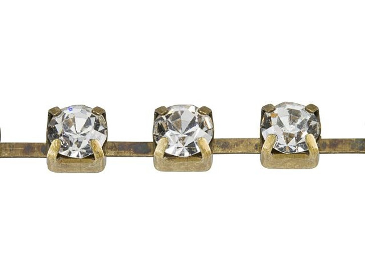 4mm Antique Brass Crystal Rhinestone Cup Chain By the Foot
