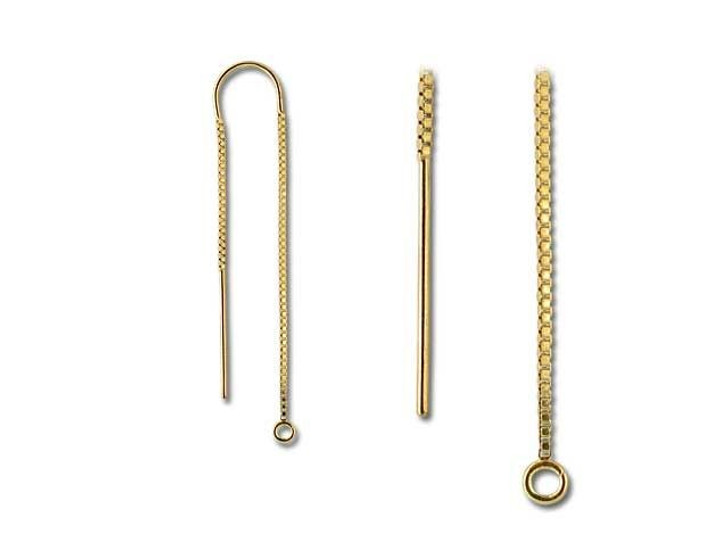 Gold-Filled 14K/20 U-Top Box Chain Drop Ear Thread with Ring (Pair)