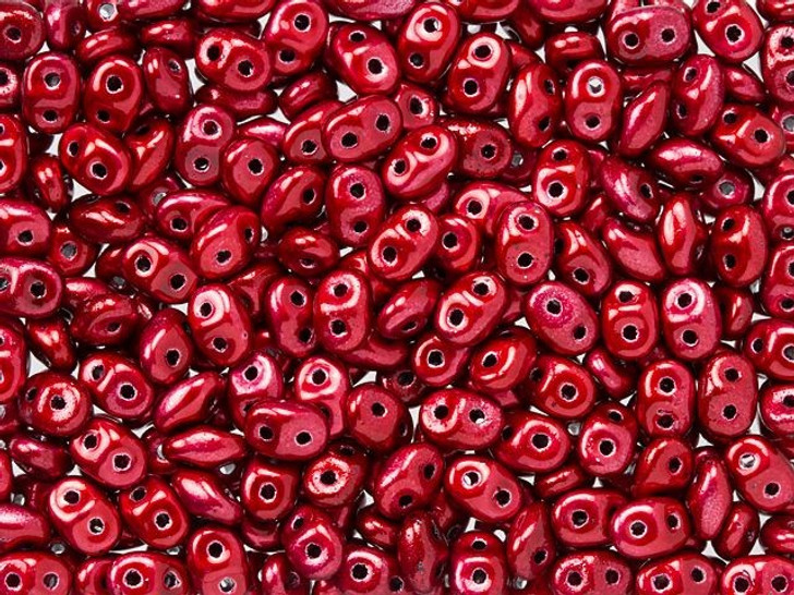 Matubo SuperDuo 2 x 5mm Metalust Lipstick Red 2-Hole Seed Bead 2.5-Inch Tube