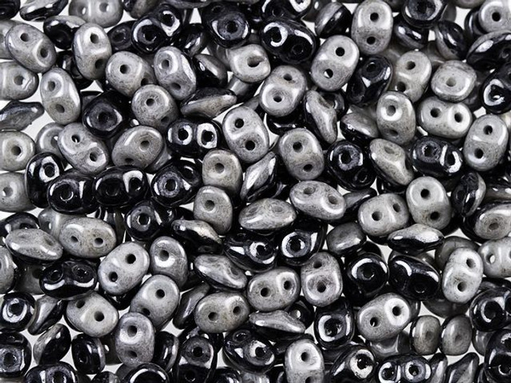 Matubo SuperDuo Duets 2 x 5mm 2-Hole Black and White Grey Luster Seed Bead 8g Bag