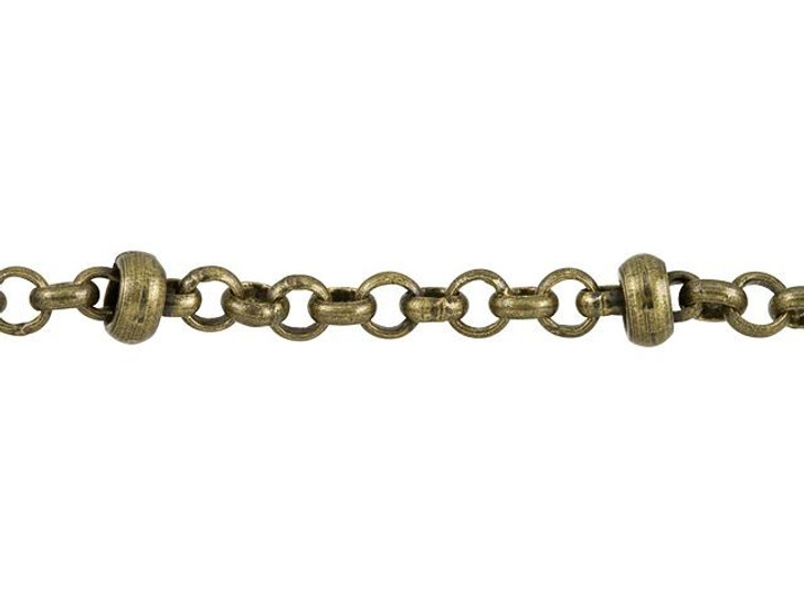 Medium Antique Brass-Plated Satellite Chain by the Foot