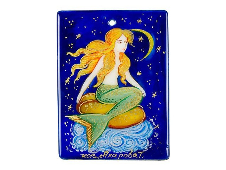 Mermaid Looking at Moon Mother of Pearl Pendant