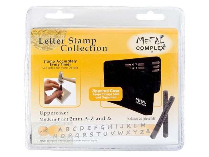 Metal Complex 2mm Upper Case 27 pc. Modern Print Alphabet Stamp Set