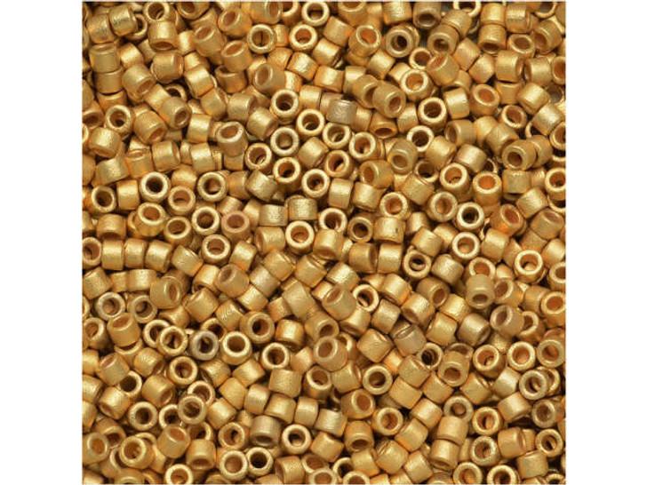 Miyuki 11/0 Metallic Matte 22 Karat Bright Gold Delica Seed Beads 2.5-Inch Tube