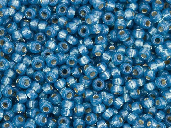 Miyuki 11/0 Round Seed Beads - Denim Blue Dyed Alabaster Silver-Lined 2.5-Inch Tube