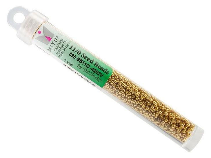 Miyuki 11/0 Round Seed Beads - Duracoat Galvanized Gold 22g Vial
