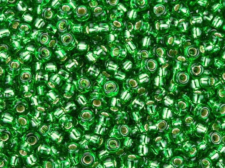 Miyuki 11/0 Round Seed Beads - Green Silver-Lined 2.5-Inch Tube