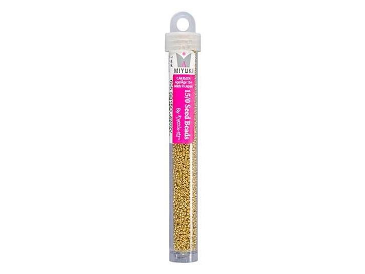 Miyuki 15/0 Round Seed Beads - Duracoat Galvanized Gold 22g Vial