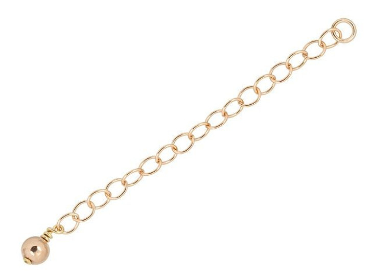 Rose Gold-Filled 14K/20 2-Inch Cable Chain Extender with 4mm Bead