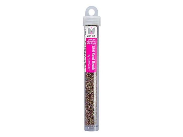 Miyuki 15/0 Round Seed Beads - Opaque Green Pink AB Matte Luster 22g Vial